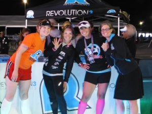 Kate, Laura, Tonia, and Kelly partying till the wee hours.  Laura finished first female overall in the full!!  Amazing!